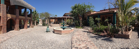 Scorpion Bay Hotel Courtyard in Baja Mexico good for surfers