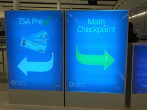 TSA PreCheck signs in Indianapolis Airport